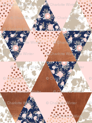 cheater quilt - 1 inch triangles small print patchwork cheater