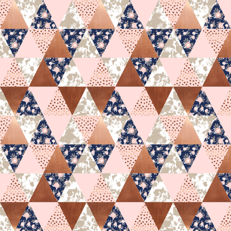 cheater quilt - 1 inch triangles small print patchwork cheater fabric by charlottewinter on Spoonflower - custom fabric