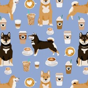 shiba inu coffee print dog and coffees fabric - powder