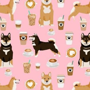 shiba inu coffee print dog and coffees fabric - pink