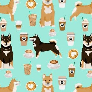 shiba inu coffee print dog and coffees fabric - aqua