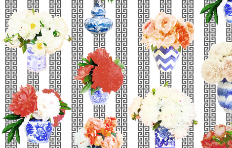 Small Scale Ginger Peony w/ Greek Key Stripe  fabric by danikaherrick on Spoonflower - custom fabric