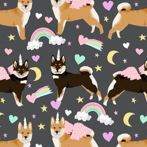 shiba inu dog unicorn fabric rainbows pastel hearts cute dogs fabric - charcoal