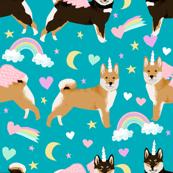 shiba inu dog unicorn fabric rainbows pastel hearts cute dogs fabric - peacock