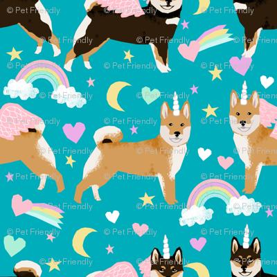 Shiba Inu Dog Unicorn Fabric Rainbows Pastel Hearts Cute