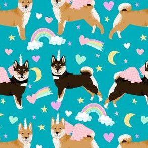 shiba inu dog unicorn fabric rainbows pastel hearts cute dogs fabric - peacock