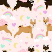 shiba inu dog unicorn fabric rainbows pastel hearts cute dogs fabric - light