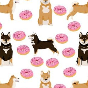 shiba inu dog fabric dogs and pink donuts design - white