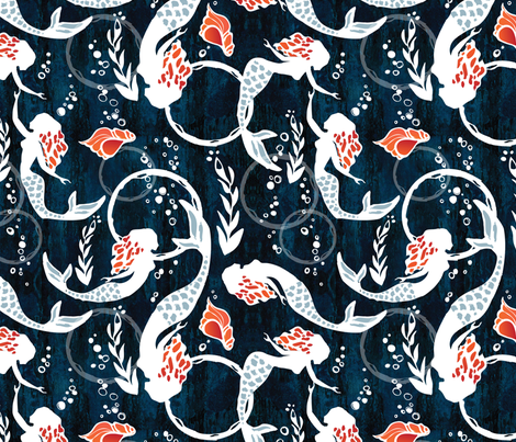 watercolor mermaids fabric by mintedtulip on Spoonflower - custom fabric