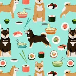 shiba inu dogs fabric dog and noodles sushi fabric design - aqua