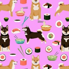 shiba inu dogs fabric dog and noodles sushi fabric design - violet