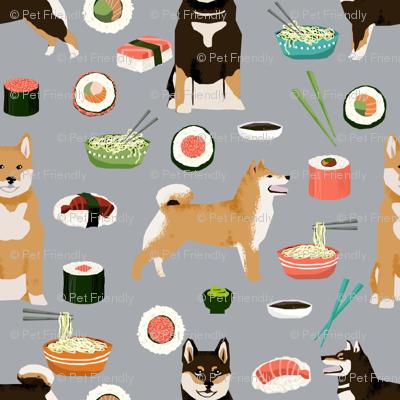 3b48b375b shiba inu dogs fabric dog and noodles sushi fabric design - grey ...