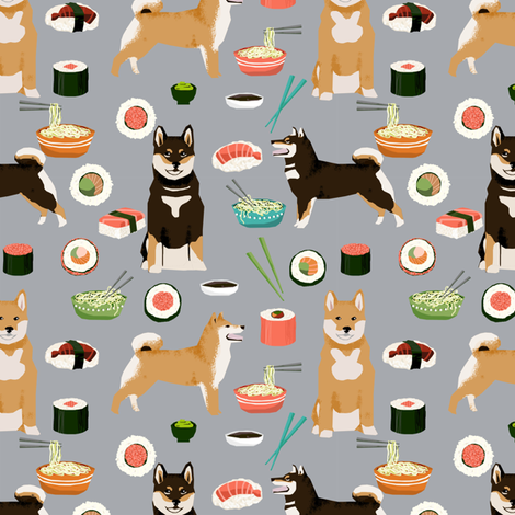 Shiba Inu Dogs Fabric Dog And Noodles Sushi Design