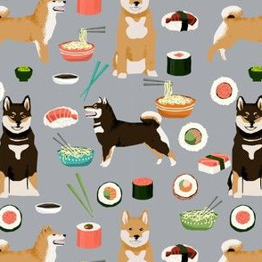 shiba inu dogs fabric dog and noodles sushi fabric design - grey