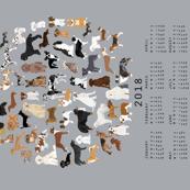 2018 dog breeds tea towel calendar - grey