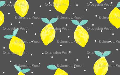 (micro print) so fresh lemons on dark grey