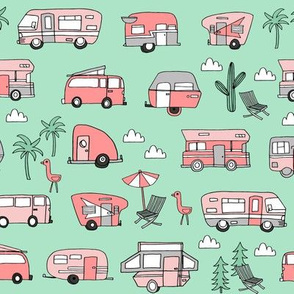vintage camper van fabric // rv road trip design - mint and coral