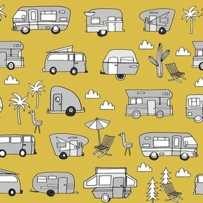 vintage camper van fabric // rv road trip design - mustard and grey