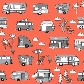 vintage camper van fabric // rv road trip design - orange