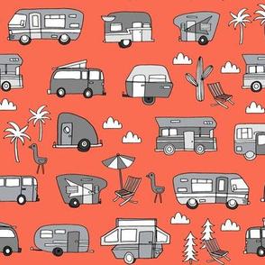 vintage camper van fabric // rv road trip design - orange