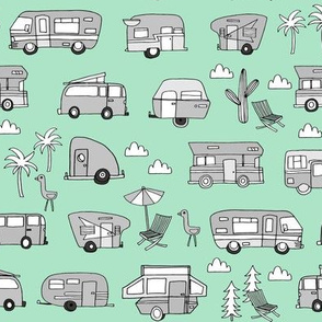 vintage camper van fabric // rv road trip design - mint and grey