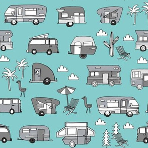 vintage camper van fabric // rv road trip design - blue and grey