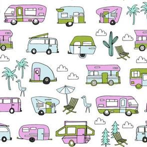 vintage camper van fabric // rv road trip design - purple and lime