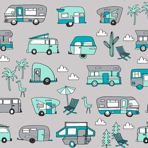 vintage camper van fabric // rv road trip design - grey and blue