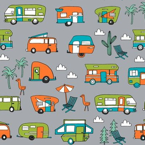 vintage camper van fabric // rv road trip design - grey