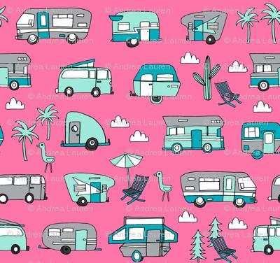 vintage camper van fabric // rv road trip design - pink and turquoise