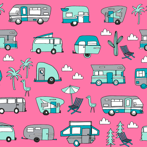 vintage camper van fabric // rv road trip design - pink and turquoise fabric by andrea_lauren on Spoonflower - custom fabric