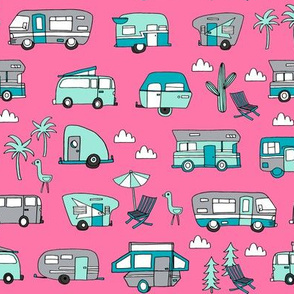 vintage camper van fabric // rv road trip design - pink and turquoise