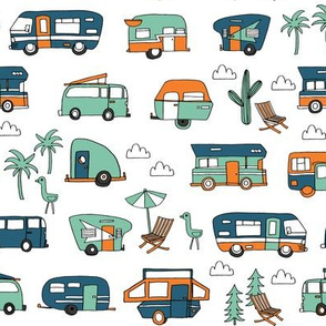 vintage camper van fabric // rv road trip design - blue and green