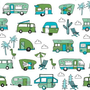 vintage camper van fabric // rv road trip design - green