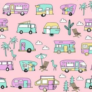 vintage camper van fabric // rv road trip design - pastel