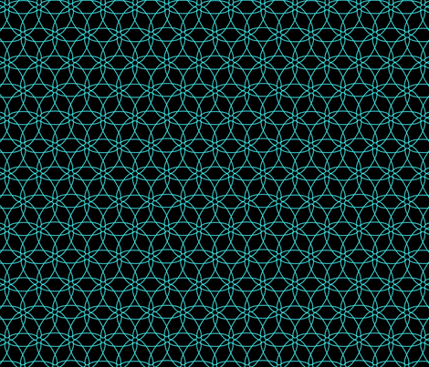 Interlocking Floral (cyan on black) fabric by chiral on Spoonflower - custom fabric