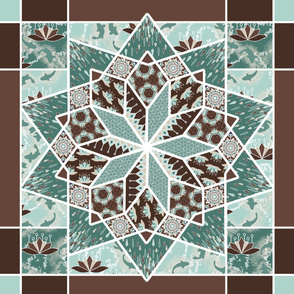Star Quilt Squares in Mint and Chocolate, Wholecloth Quilt by Amborela