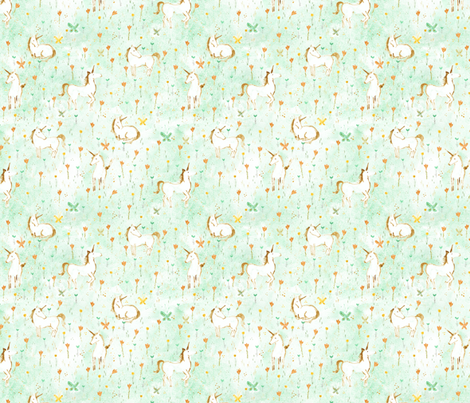 Wild Flowers + Unicorns - © Lucinda Wei fabric by lucindawei on Spoonflower - custom fabric