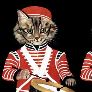 cats drummer boys military bands music drums musicians uniforms vintage retro Anthropomorphic whimsical animals