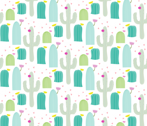 Cacti Field fabric by pixabo on Spoonflower - custom fabric