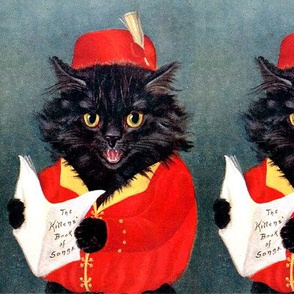 black cats Maine Coon singing singer choir songs music song book vintage retro Anthropomorphic whimsical animals