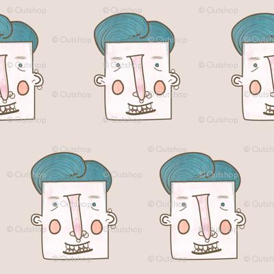 Blue hair trendy guy with piercings