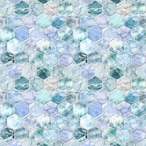 Small Ice Blue and Jade Stone and Marble Hexagon Tiles