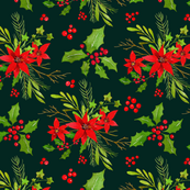 Watercolor Christmas Bright Greenery Branches and Red Berries Bouquets on Dark Background