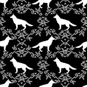 german shepherd florals silhouette dog black