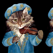 cats maine coon renaissance violins violinists music musicians   vintage retro kitsch whimsical anthropomorphic medieval aristocrats nobles