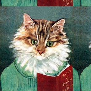 cats Maine Coon reading books vintage retro Anthropomorphic whimsical animals