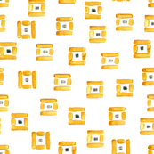 Gold squares with grey dots