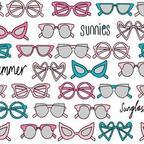 sunglasses fabric // cute summer girls sunnies sunglasses beach design - pink and turquoise