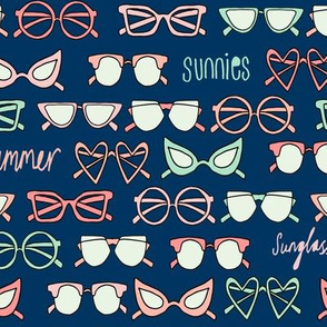 sunglasses fabric // cute summer girls sunnies sunglasses beach design - navy coral mint